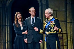 Allison Jean White (Kate), Christopher McLindon (Williams), and Robert Joy (King Charles III) in King Charles III at Seattle Repertory Theatre. Photo by Michael Doucett.