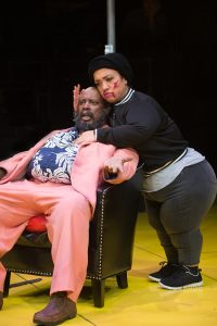 Sir John Falstaff (G. Valmont Thomas) and Peto (Lauren Modica) nurse the wounds to their bodies and pride after being robbed of the goods they stole. Photo by Jenny Graham.