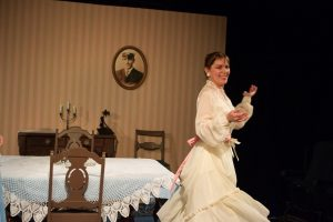"Dayna Childs in Lakewood Playhouse's ""The Glass Menagerie."" Photo by Tim Johnston."