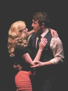 "Claire Barton and Jake Atwood in TMP's production of ""Catch Me if You Can."" Photo by Kathleen Dollarhide."