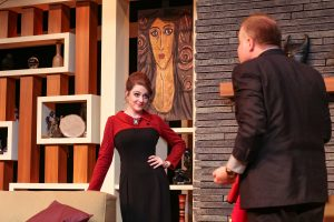 "Victoria Ashley and Jed Slaughter in Tacoma Little Theatre's ""Bell, Book, and Candle."""