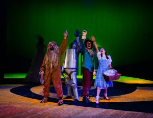 "L-R Matty McCaslin, Jon Payne, Shane Patrick Hoffman, and Emily Fox in BPA's ""The Wizard of Oz."" All photos courtesy Derek Villanueva."