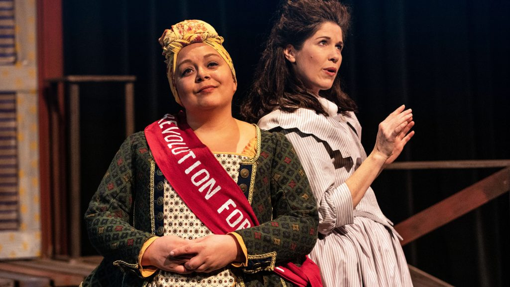 "l to r, Kerrie Thornton and Meg Wolf in Bainbridge Performing Arts' ""The Revolutionists."""