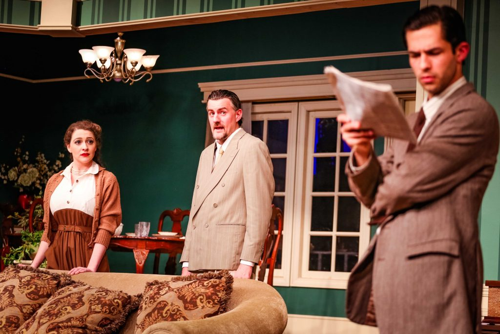 "L to R, Victoria Ashley, Ben Stahl, and Rodman Bolek in ""Laura"" at TLT. Photos by Dennis K. Photography."
