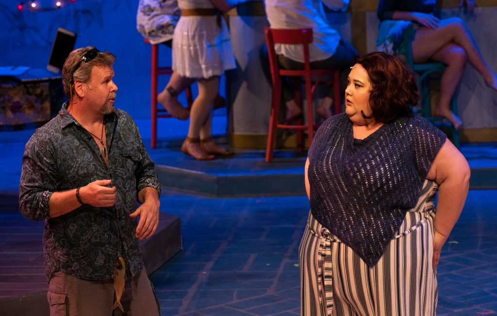 "Wayne Purves (Bill) and Michelle Abad (Rosie) in ""Mamma Mia"" for Bainbridge Performing Arts."