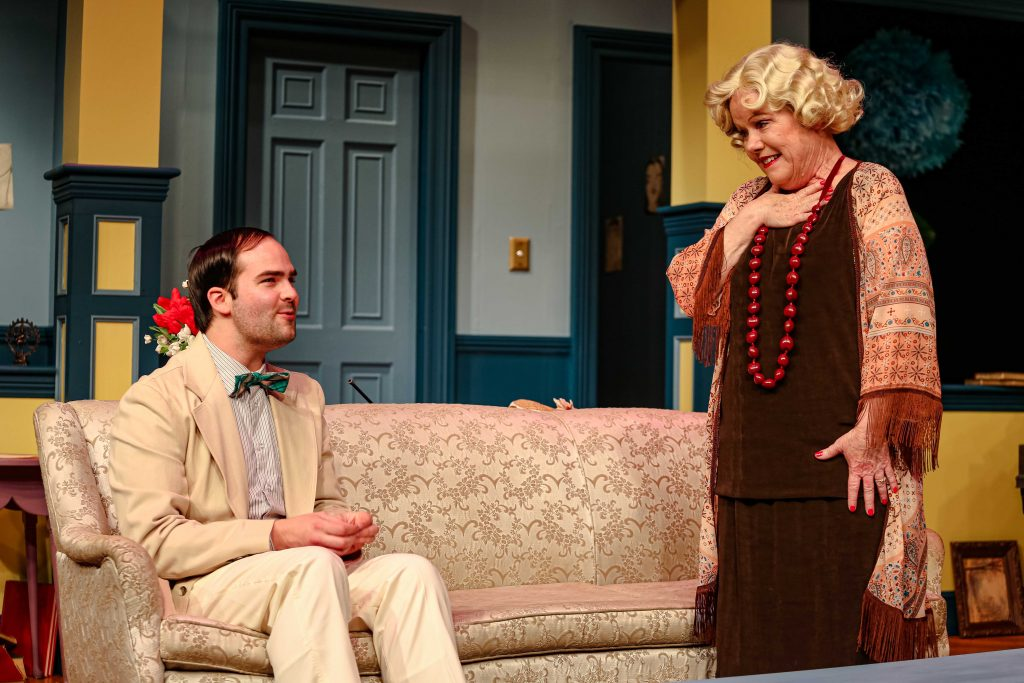 "Frank Roberts and Jane McKittrick in Tacoma Little Theatre's ""Hay Fever."""
