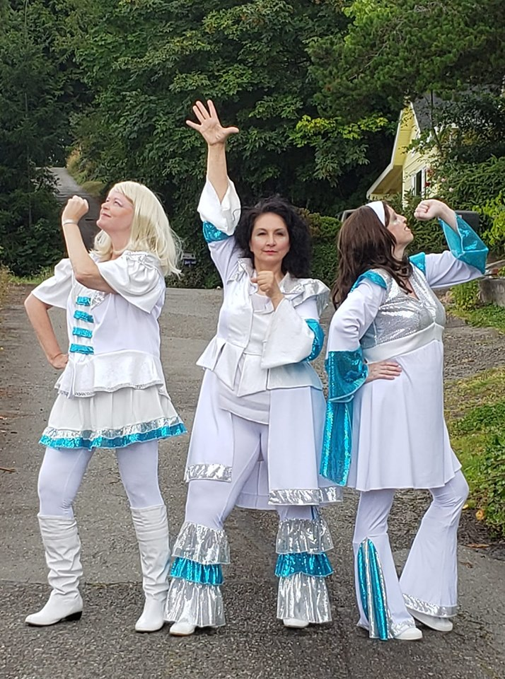 l to r, Courtney Turnley, Nita Wilson, and Kim Myers, as they reprise their Mamma Mia roles on the streets of Kitsap County.