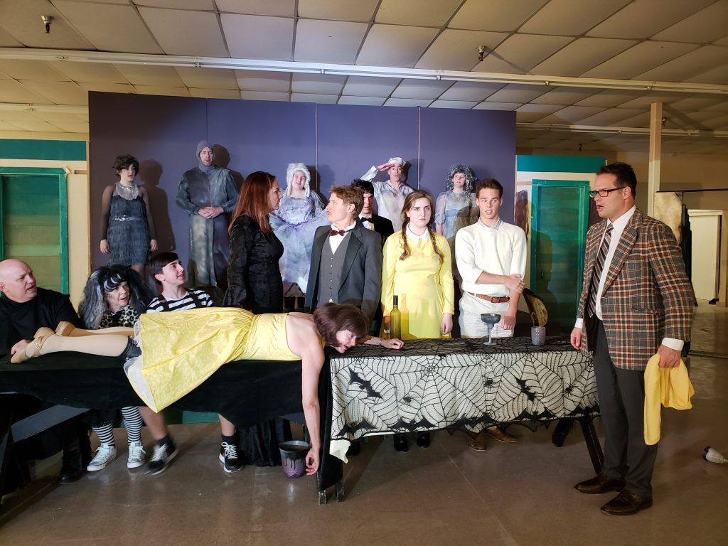 "The ensemble cast of ""The Addams Family"" in rehearsal."