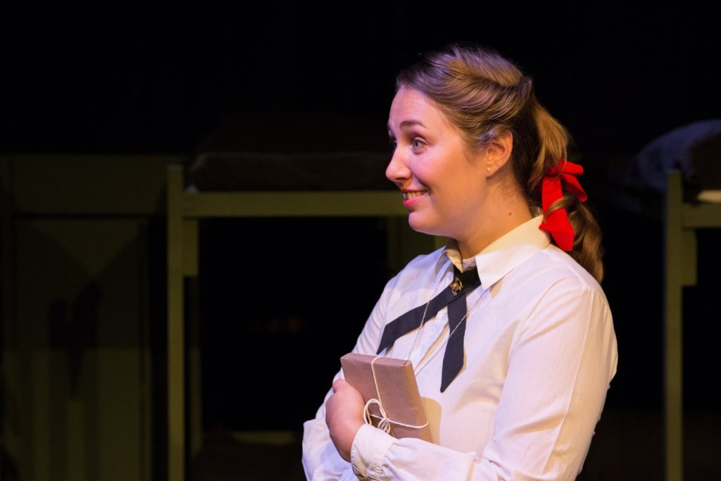 """Cassie Fastabend as Daisy in Lakewood Playhouse's """"Biloxi Blues."""""""