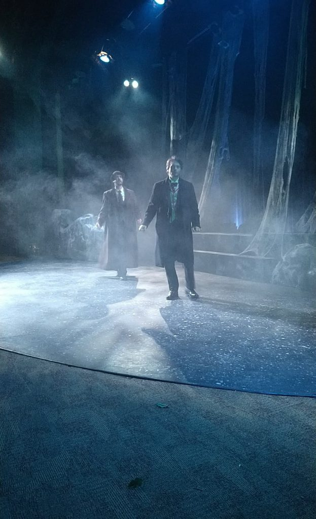 """Jacob Tice as Watson and Tom Livingston as Holmes in """"The Hound of the Baskervilles"""" Photo credit Tori Dewars."""