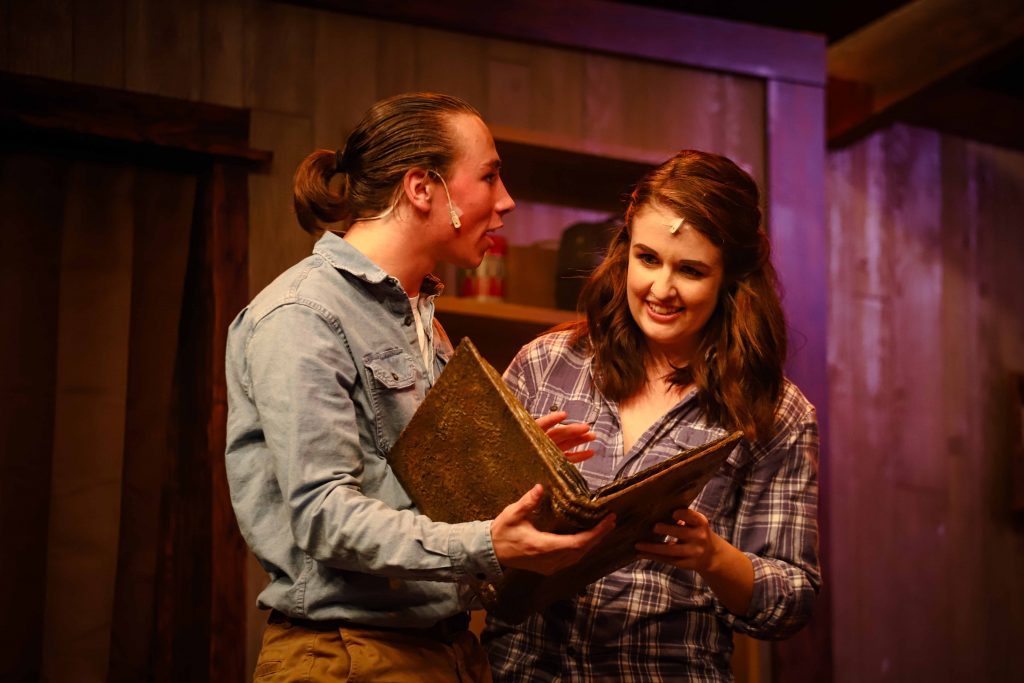 "Zachary Edson as Ash and Ashley Roy as Linda in ""Evil Dead: The Musical"" All photos by Dennis K Photography."