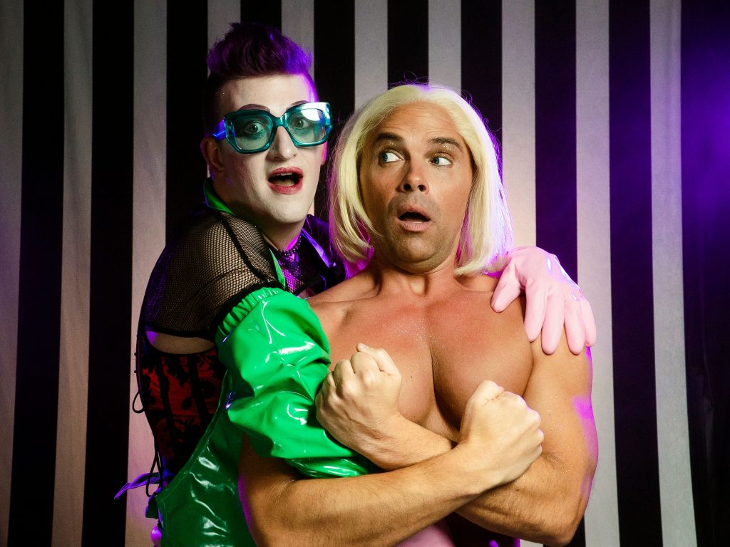 "Adam Minton (Frank) and Joey Chapman (Rocky) in Bainbridge Performing Arts, ""The Rocky Horror Show."""