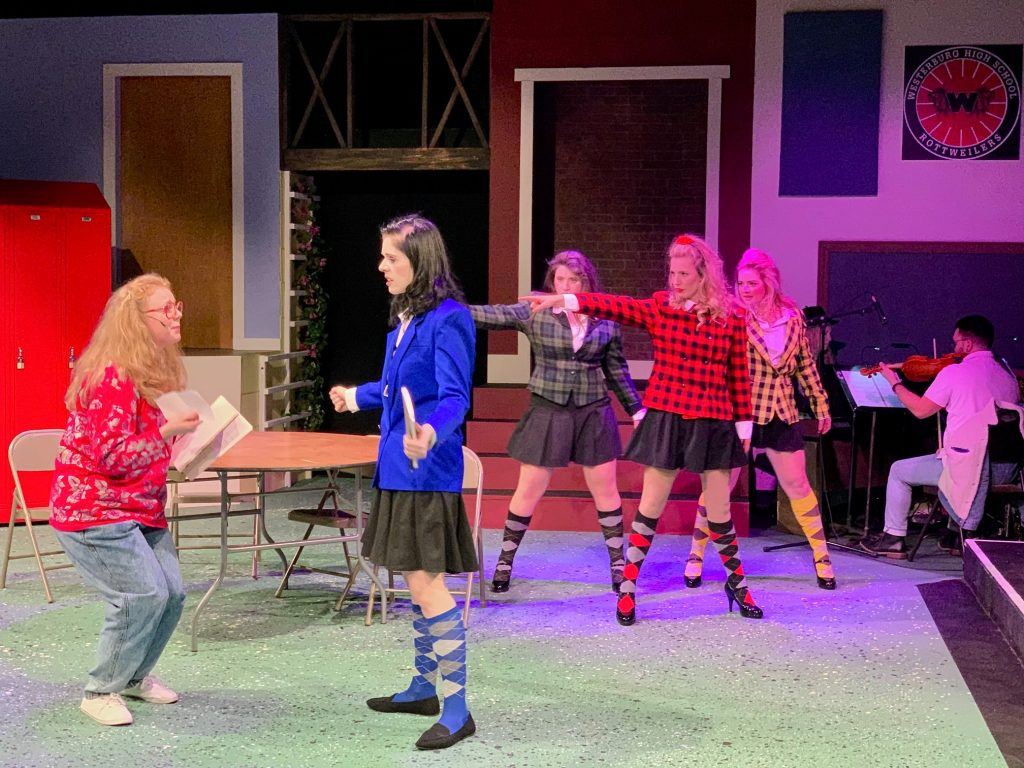 "CHRISTINE CHOATE (Martha), MOLLY QUINN (Veronica) ANNELISE MARTIN (Heather Duke), TAYLOR COLVILL (Heather Chandler) and JULIETTE HOLLIFIELD (Heather MacNamara) from the Lakewood Playhouse Production of ""HEATHERS - THE MUSICAL"" Photos by Kyle Sinclair and Matthew Price."