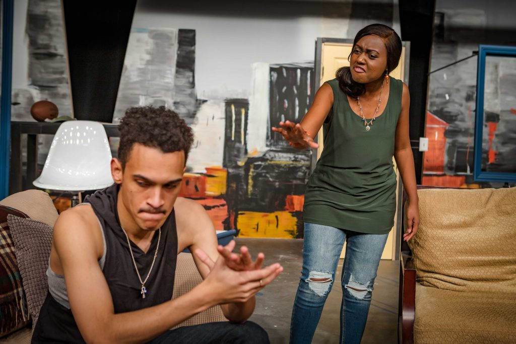 "Donovan Mahannah and Cynthia Kinyanjui in Tacoma Little Theatre's production of ""Shattering."""