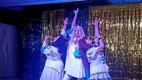 """left to right, Nita Wilson, Eli Ghorley, and Vicki Richards in Paradise Theatre's """"Forbidden Broadway's Greatest Hits"""""""