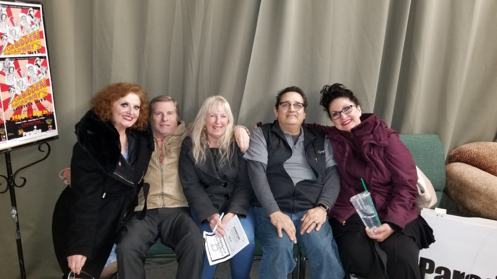 Left to right, Vicki Richards, Kim Hastings, Jeri Hastings, Jeff Richards, and Nita Wilson after the final Paradise Theatre show.